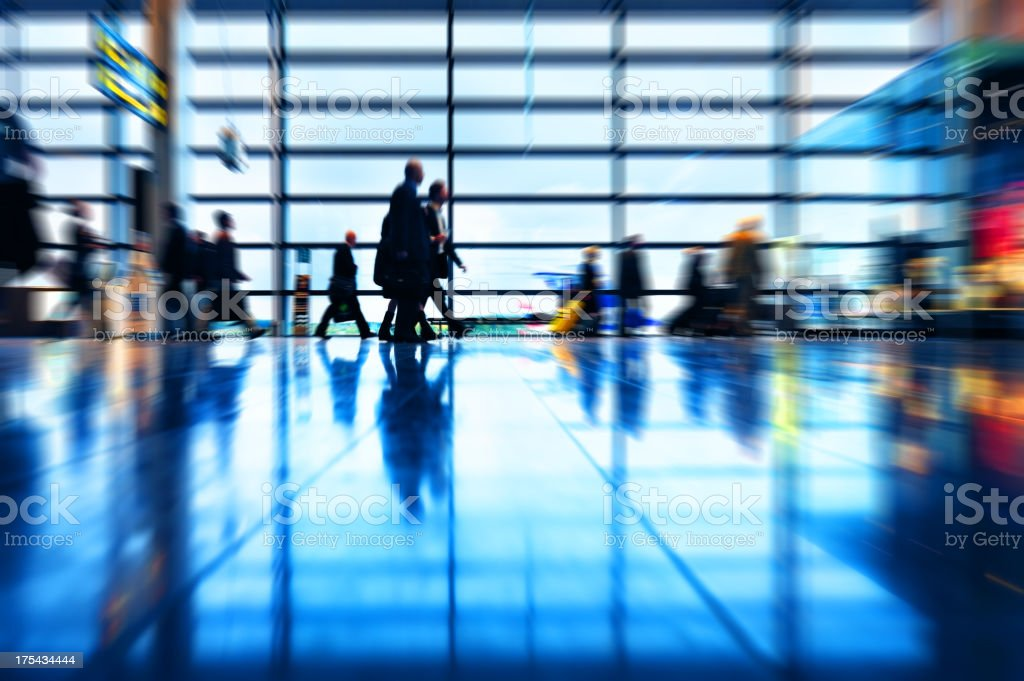Zoom blur picture of modern airport terminal royalty-free stock photo