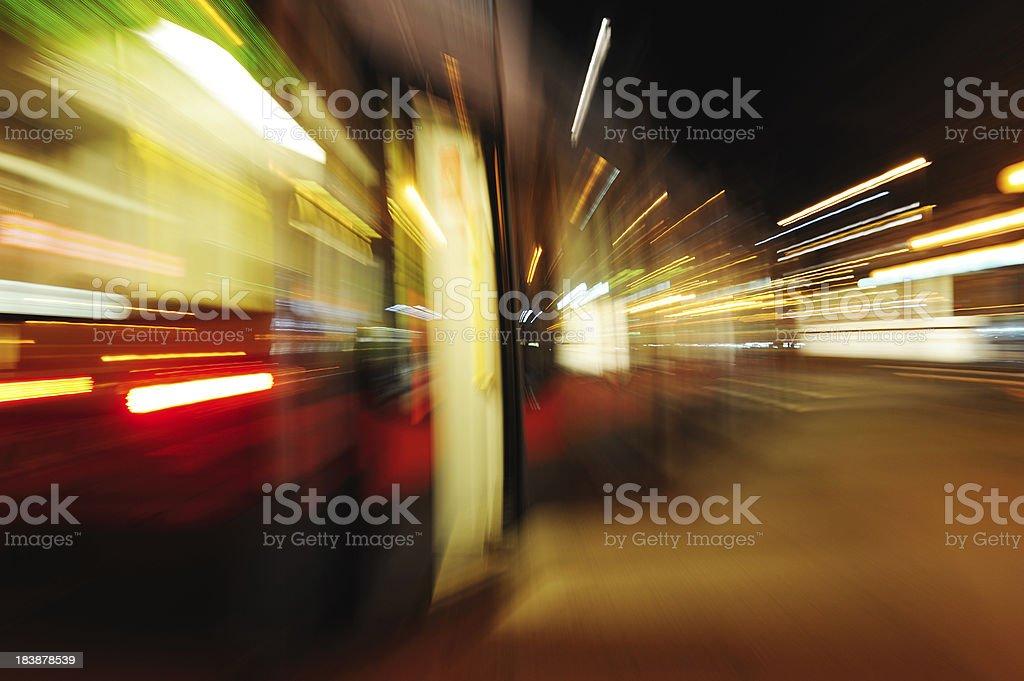 Zoom blurred street car, tram royalty-free stock photo