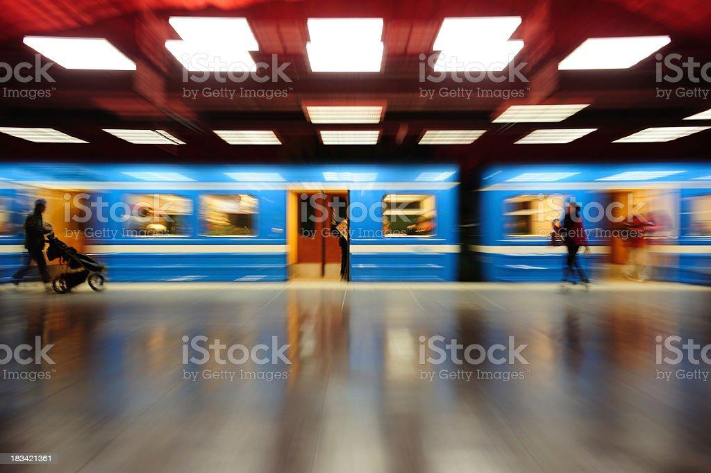 Zoom blurred subway train royalty-free stock photo