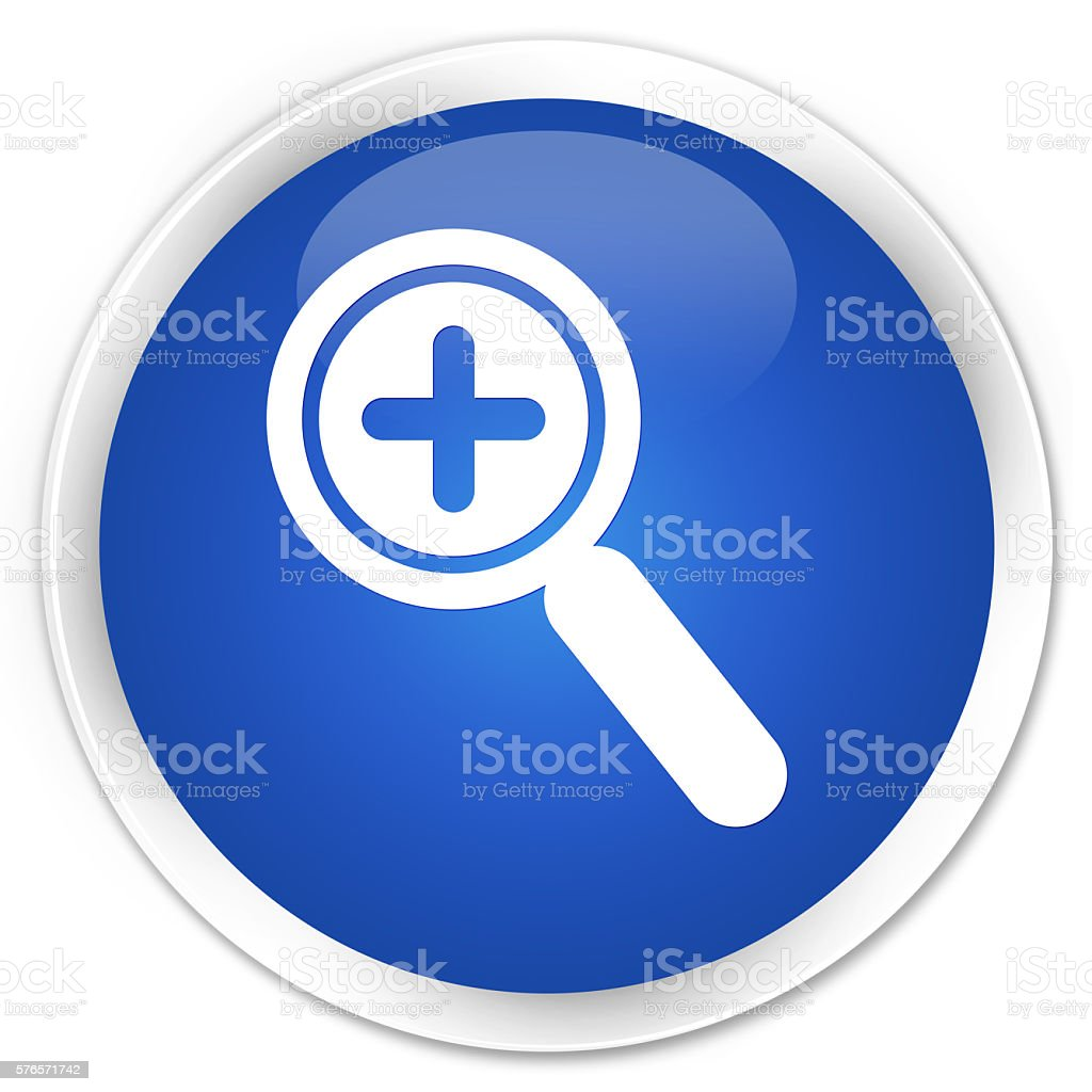 Zoom in icon blue glossy round button stock photo