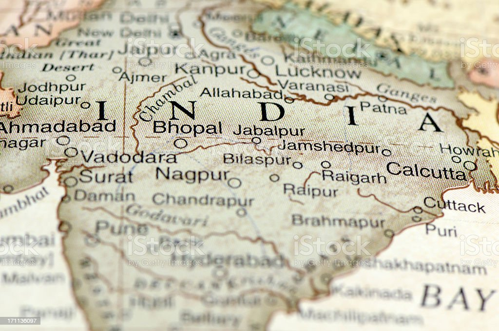 A zoom in on a map of India and its states stock photo