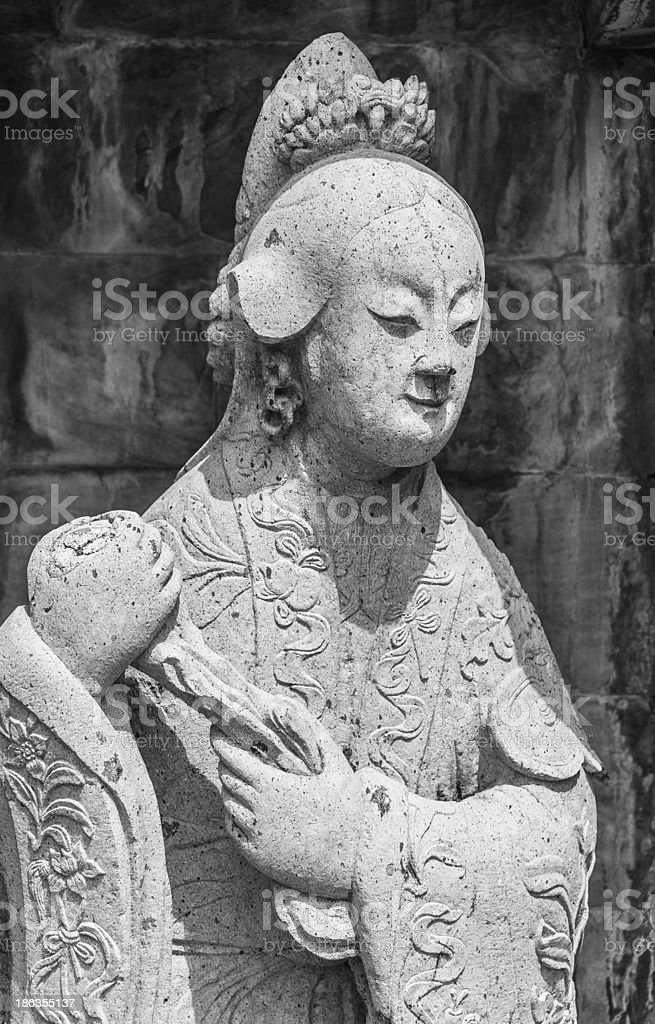 Zoom in Statue of Chinese woman royalty-free stock photo