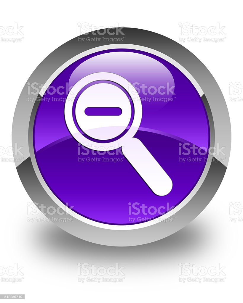 Zoom out icon glossy purple round button stock photo
