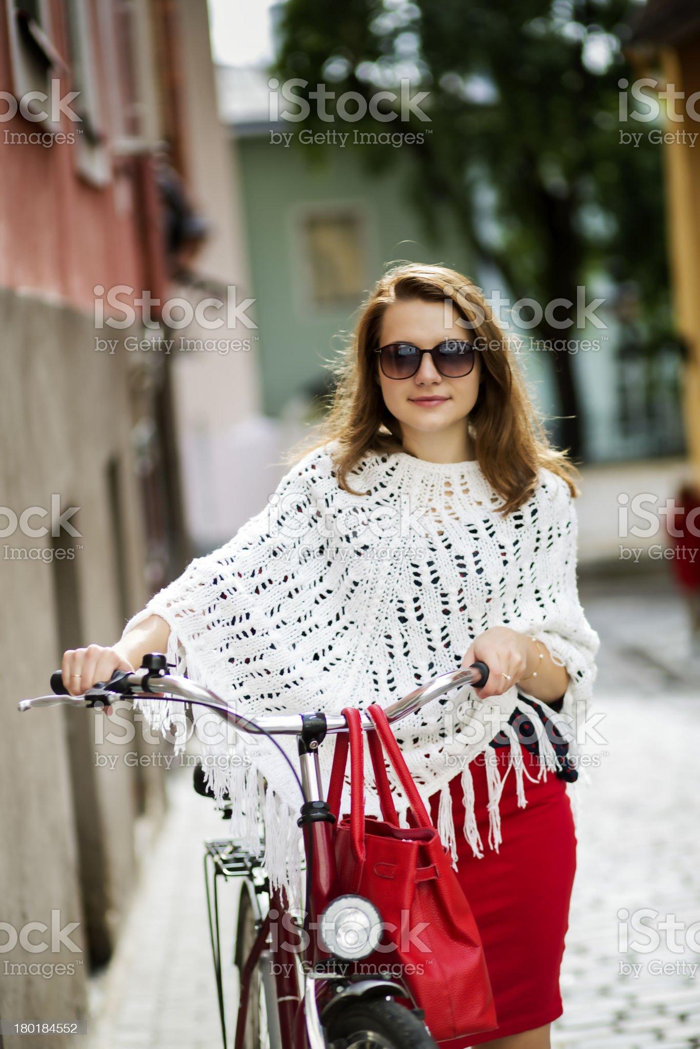 Zoomed happy woman on city street royalty-free stock photo