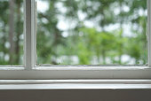 Zoomed image of window sill and panes looking out into woods