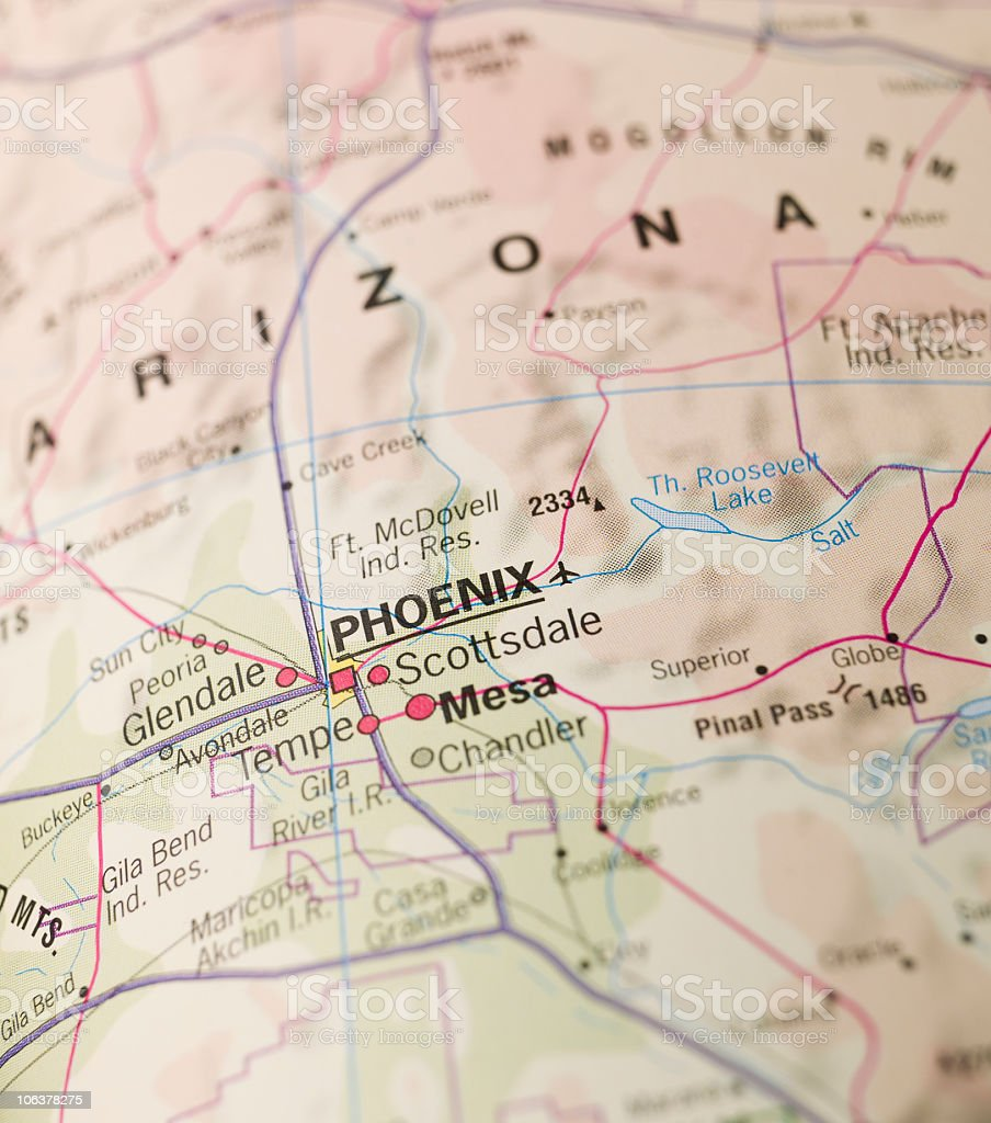 A zoomed in image of a map, focused on Phoenix, Arizona royalty-free stock photo