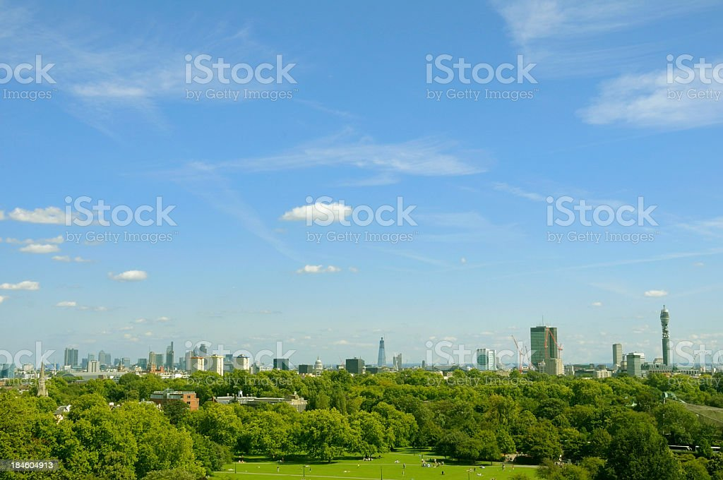 A zoomed out view of London's cityscape stock photo