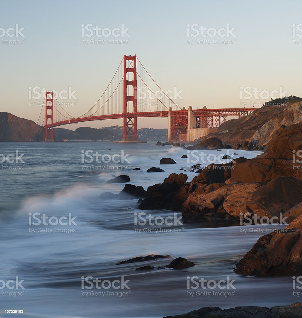 A zoomed out view of the water and the Golden Gate Bridge royalty-free stock photo
