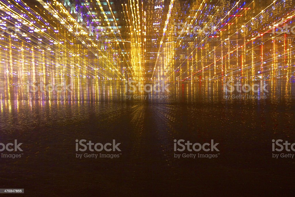 Zooming Akmens Bridge at night stock photo
