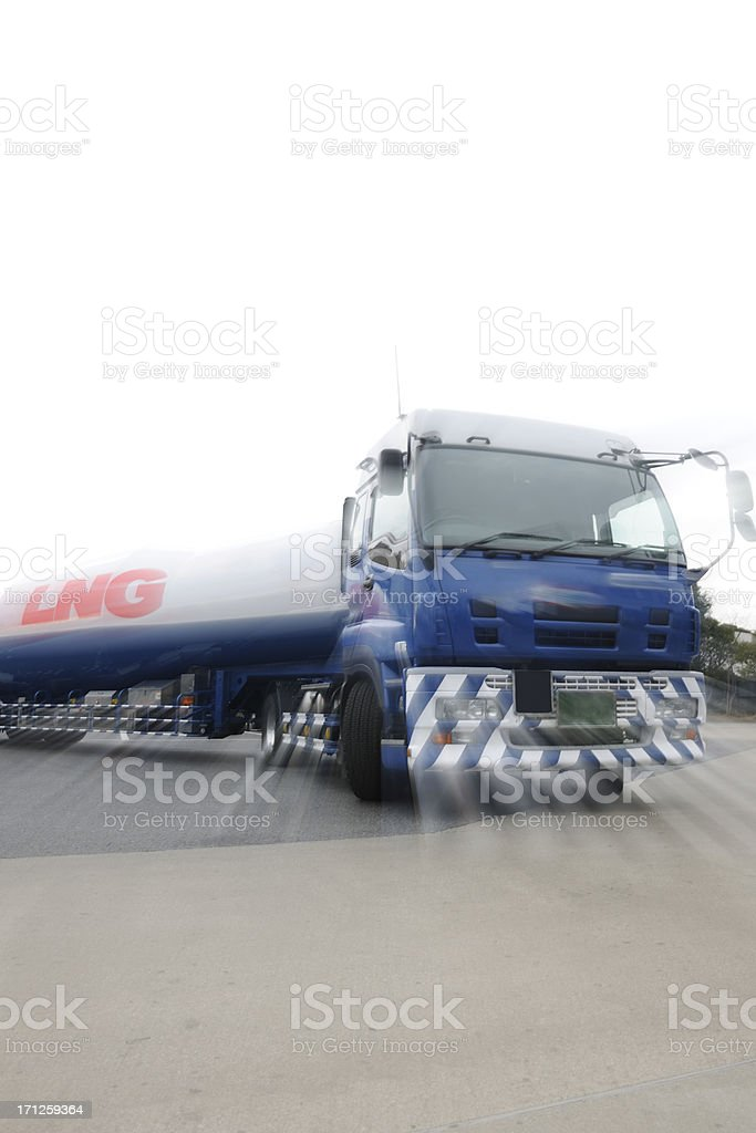 Zooming of a LNG tanker truck royalty-free stock photo
