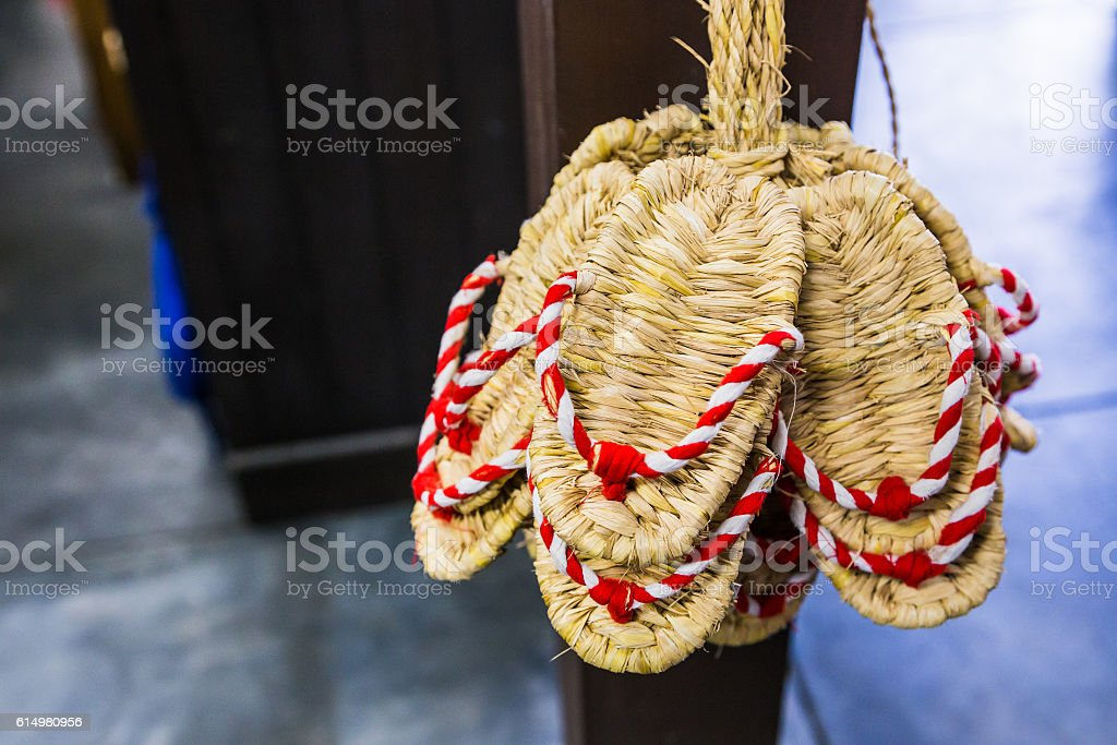 Zori - Traditional  Japanese sandals made of rice straw. stock photo