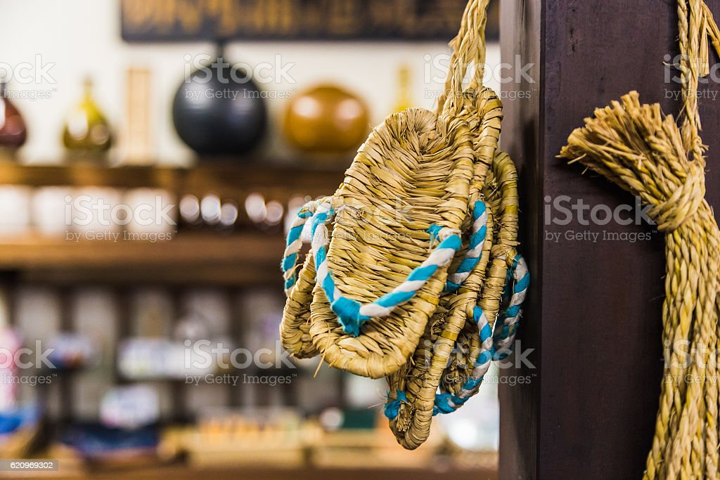 Zori - Traditional  Japanese sandals made of rice straw stock photo