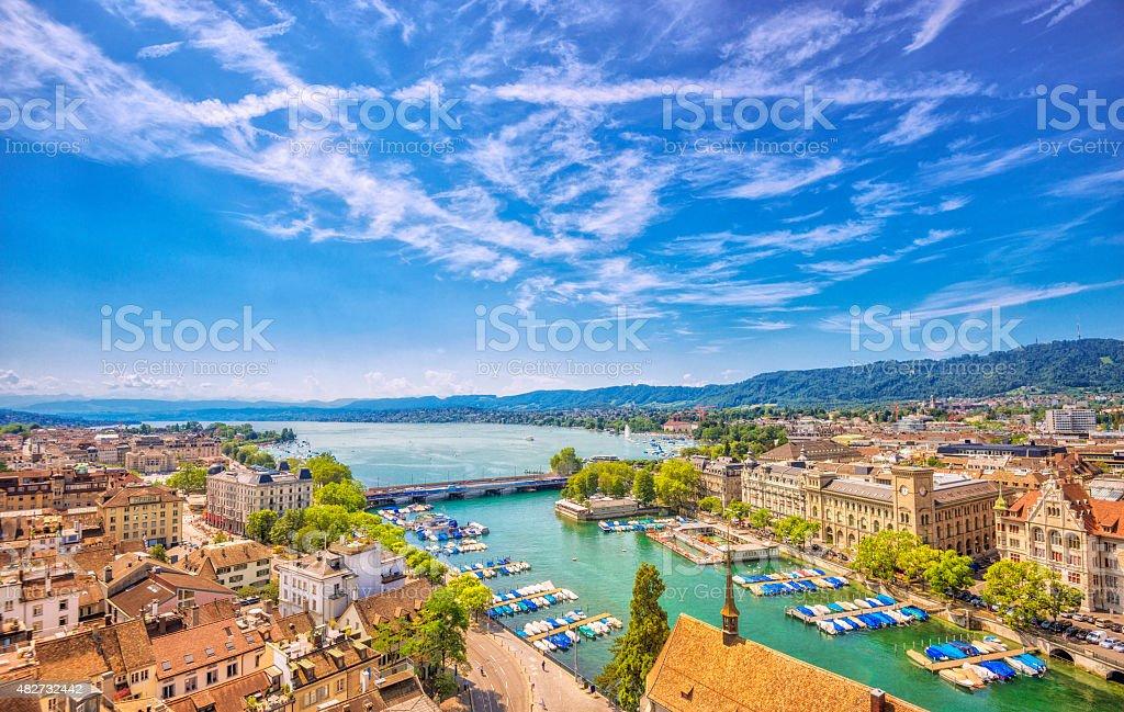 Zürich, Lake Zurich and Swiss Alps stock photo