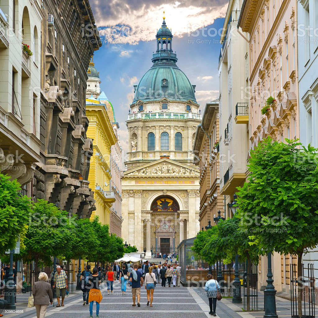 Zrinyi Utca street and St. Stephen`s Basilica stock photo