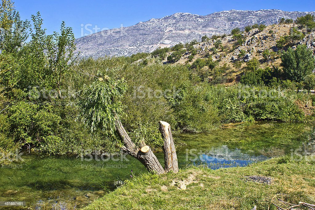 Zrmanja river and Velebit Mountain stock photo