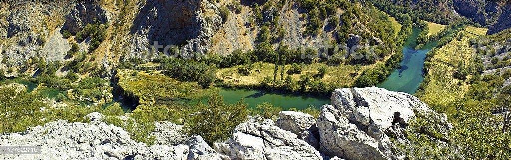 Zrmanja river canyon - Krupa mouth and Visoki buk waterfall stock photo