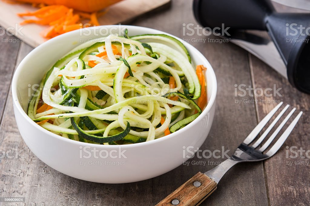 Zucchini and carrot noodles stock photo
