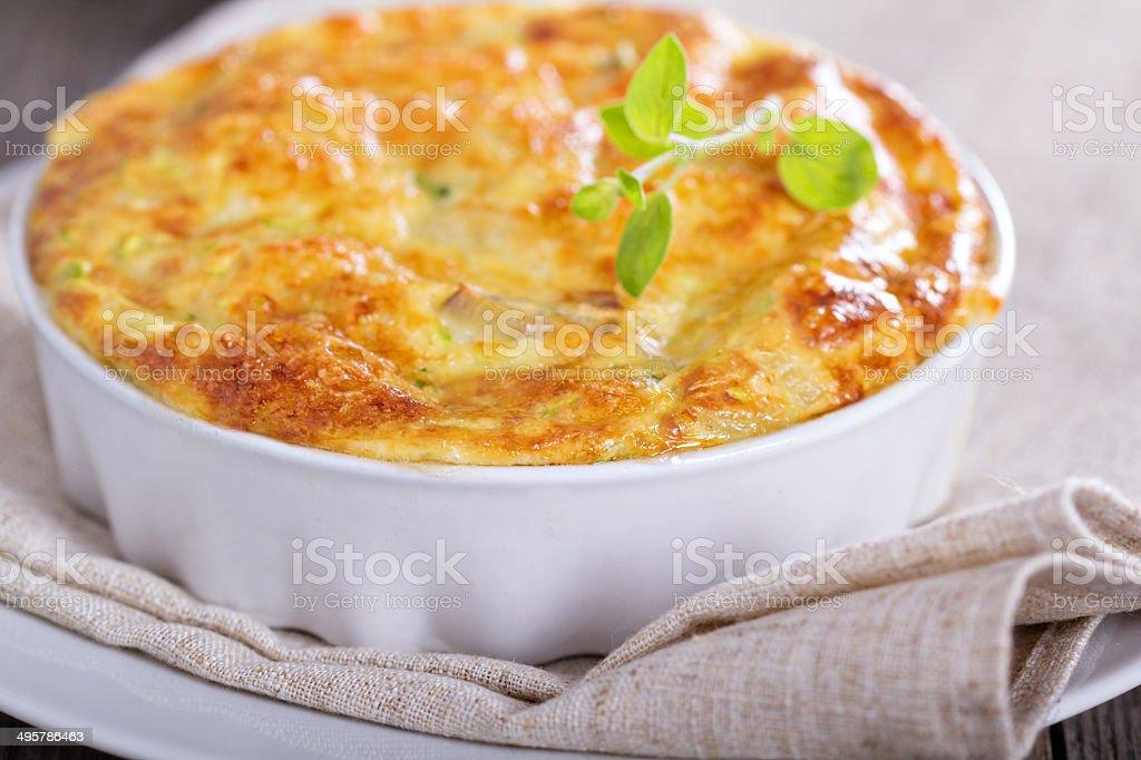 Zucchini and onion bake stock photo