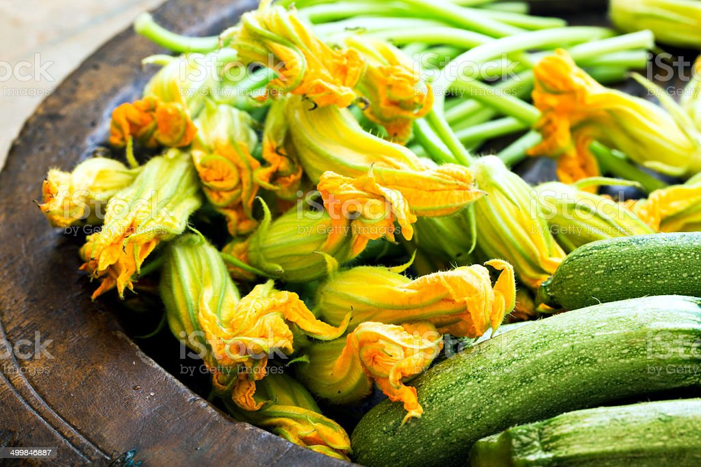 zucchini and zucchini flowers stock photo