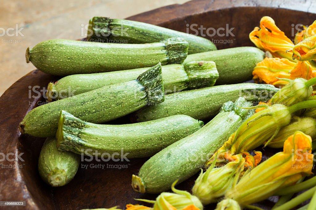 zucchini and zucchini flowers royalty-free stock photo