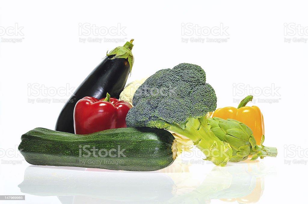 Zucchini, broccoli, eggplant, peppers and artichoke. royalty-free stock photo