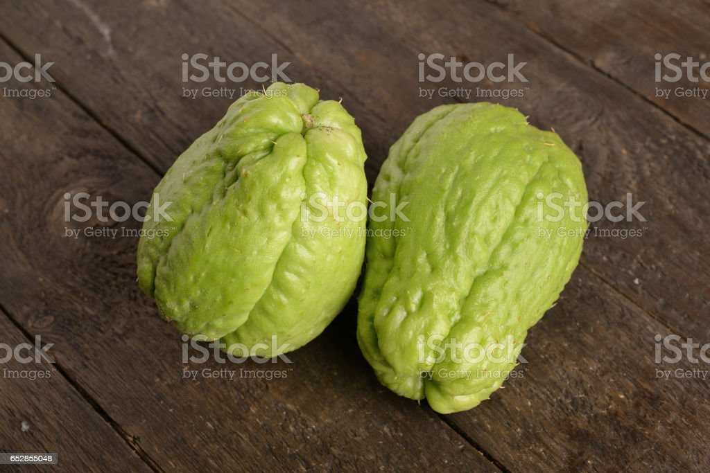 zucchini centennial or thorny biological (chayote) stock photo