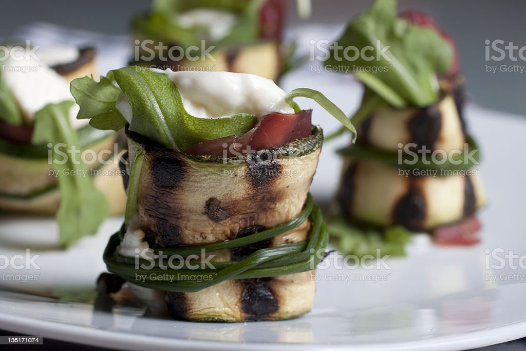 zucchini cheese and dried beef rolls royalty-free stock photo