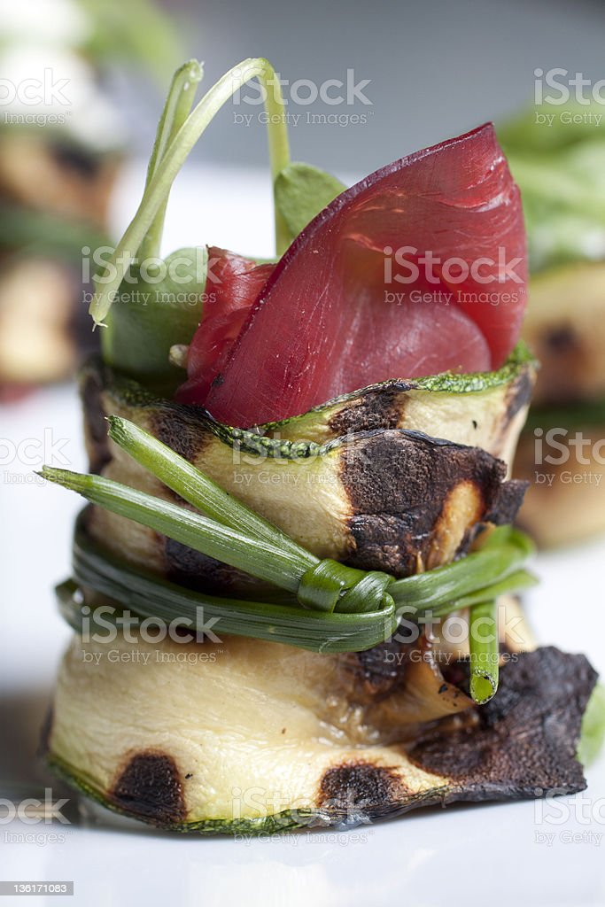 zucchini cheese and dried beef rolls stock photo