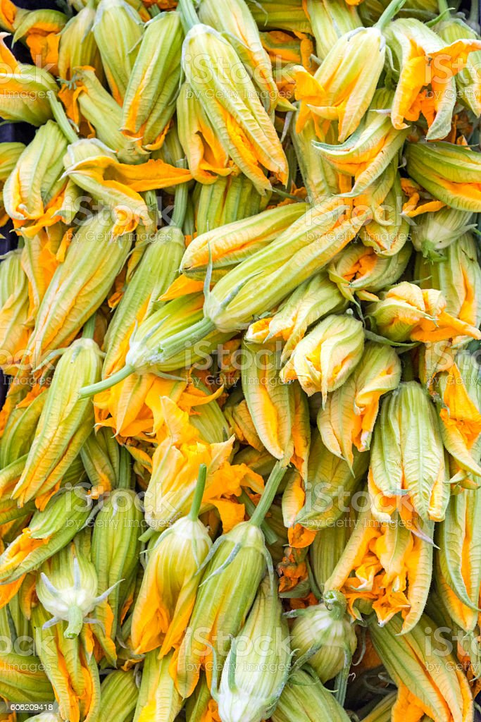 Zucchini flowers for sale stock photo