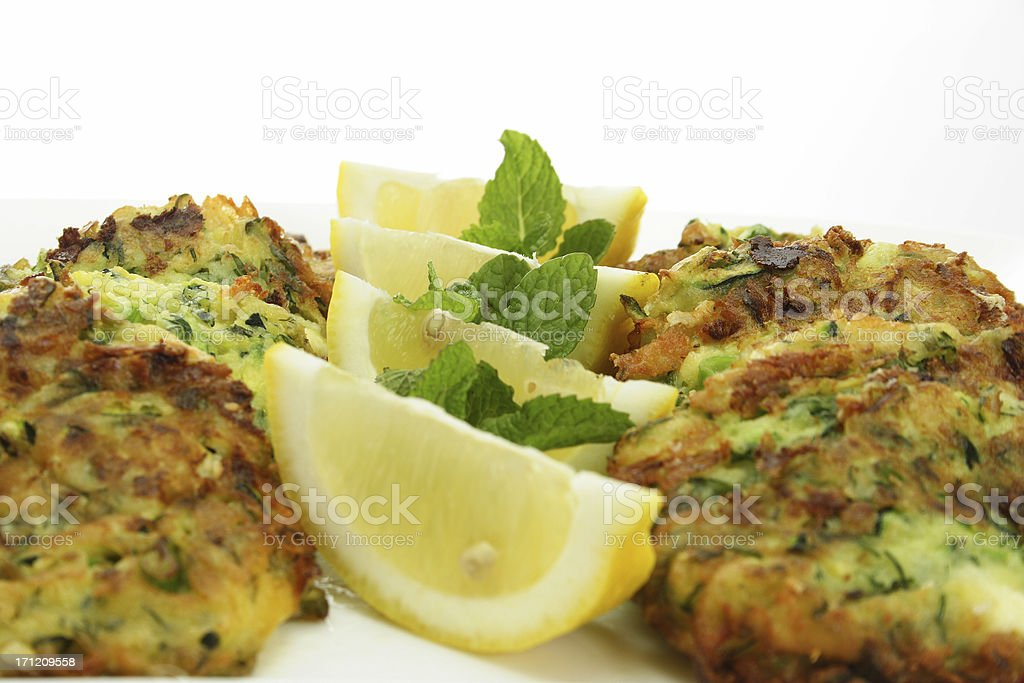 zucchini fritters on white royalty-free stock photo