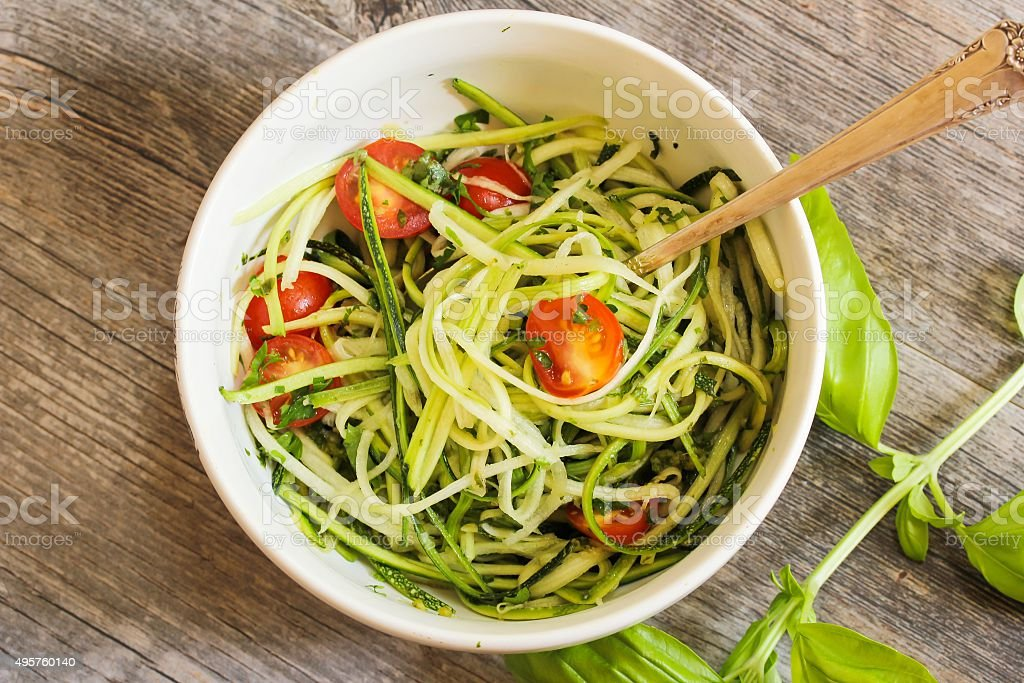 Zucchini Noodles pasta with vegetables stock photo