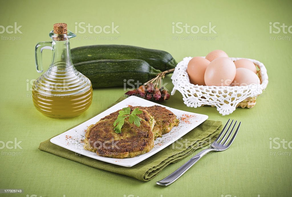 Zucchini omelettes. royalty-free stock photo