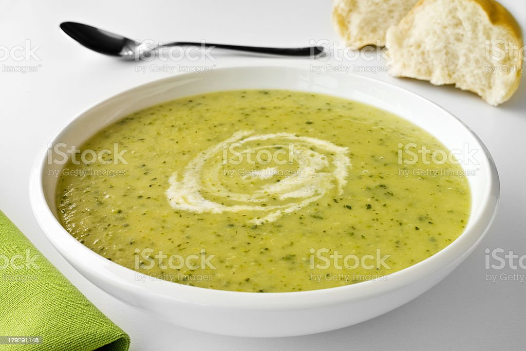 Zucchini or Courgette Soup and Bread royalty-free stock photo