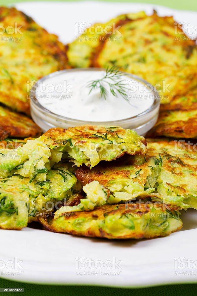 Zucchini Pancakes With  Sour Cream stock photo