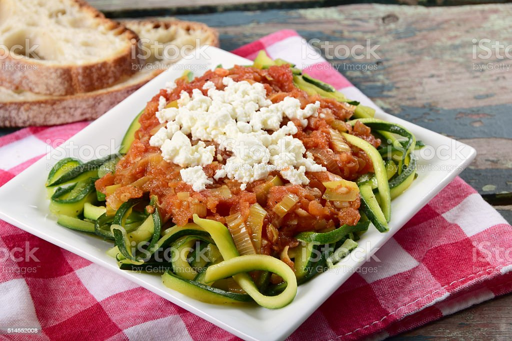 Zucchini Pasta or Zoodles With Marinara Sauce stock photo
