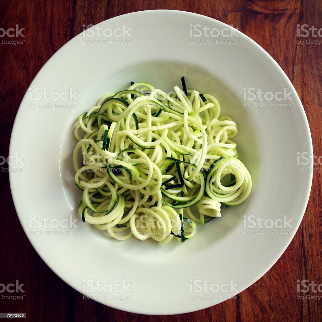 Zucchini pasta or zucchini noodles stock photo