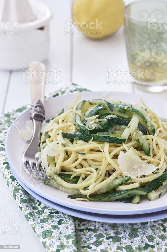 Zucchini Pasta or Zucchini Noodles stock photo