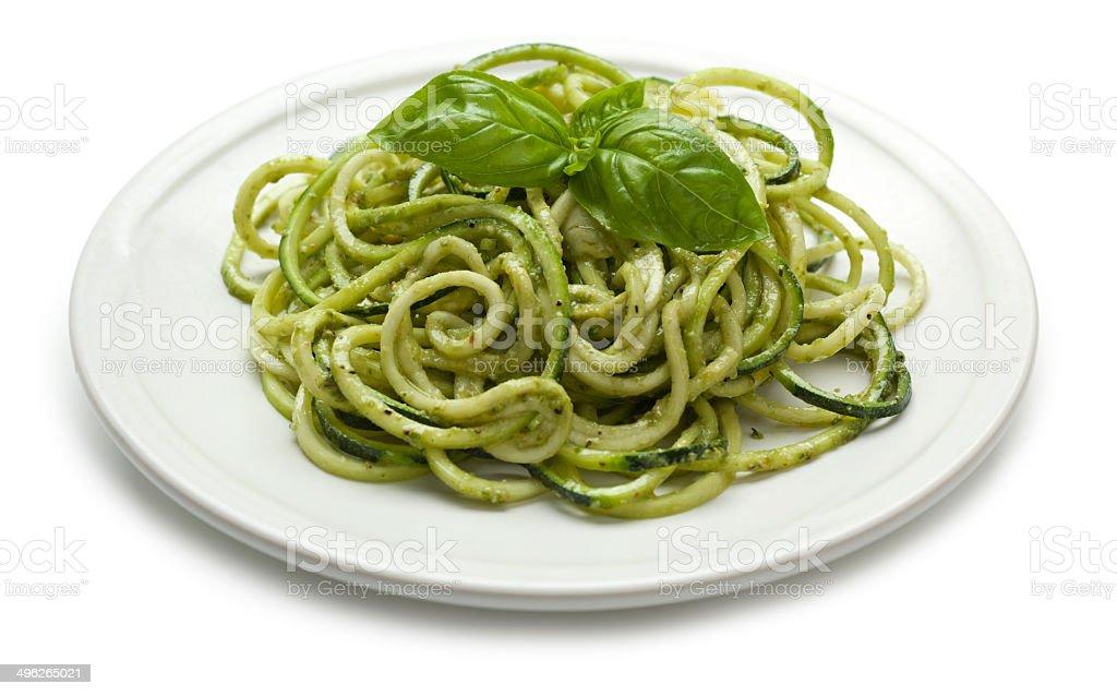 Zucchini pesto pasta stock photo