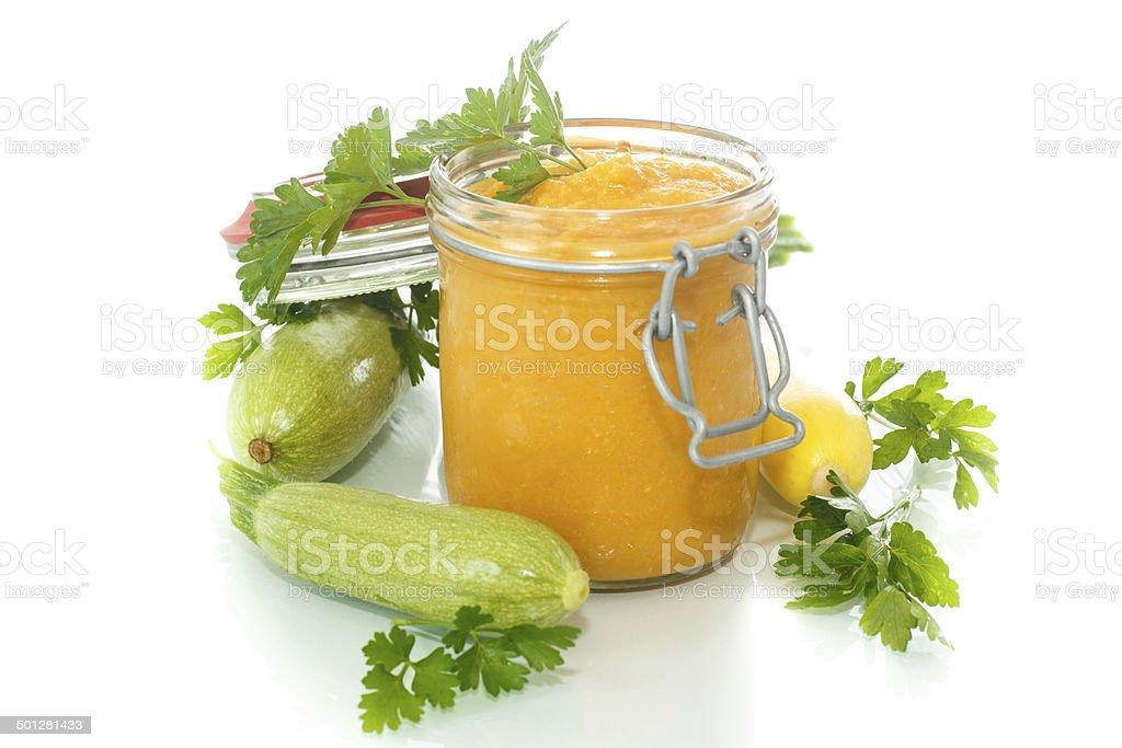 zucchini puree stock photo