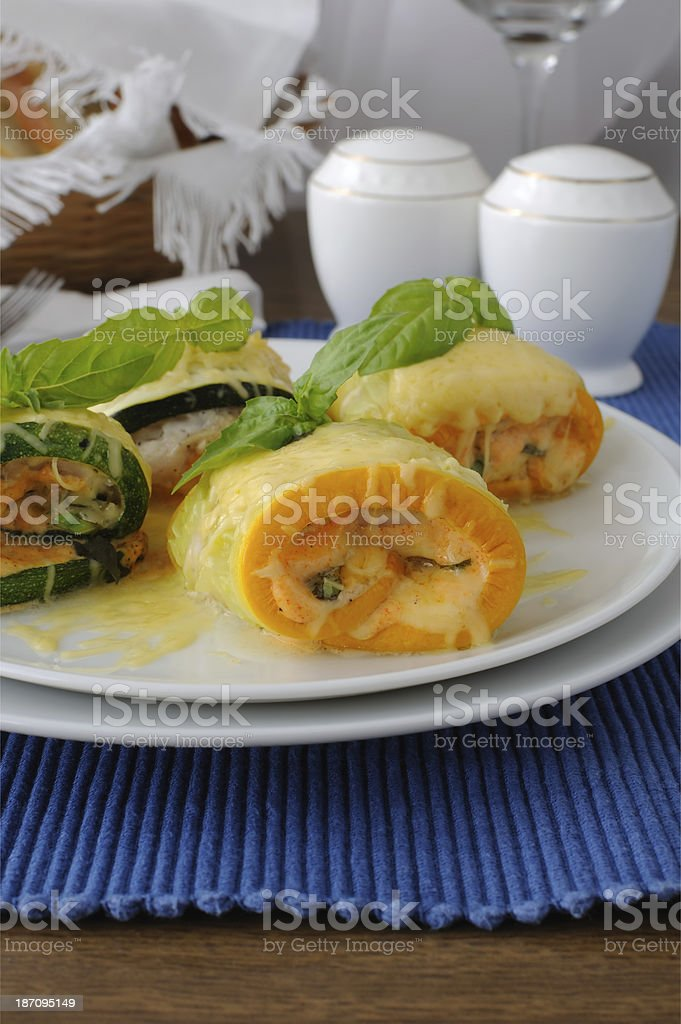 Zucchini rolls stuffed with cheese royalty-free stock photo