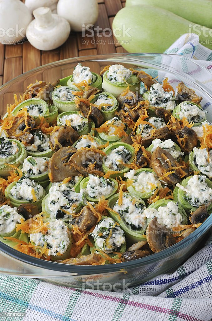 Zucchini rolls stuffed with ricotta and spinach, mushrooms royalty-free stock photo