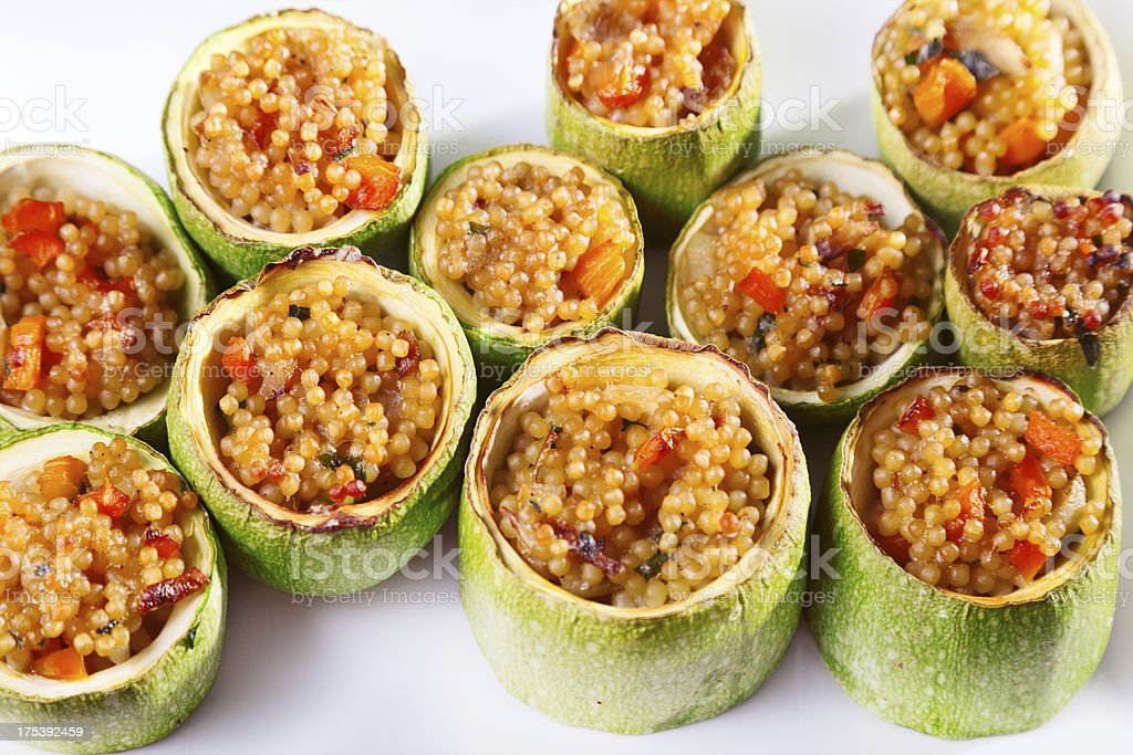 Zucchini stuffed with couscous royalty-free stock photo