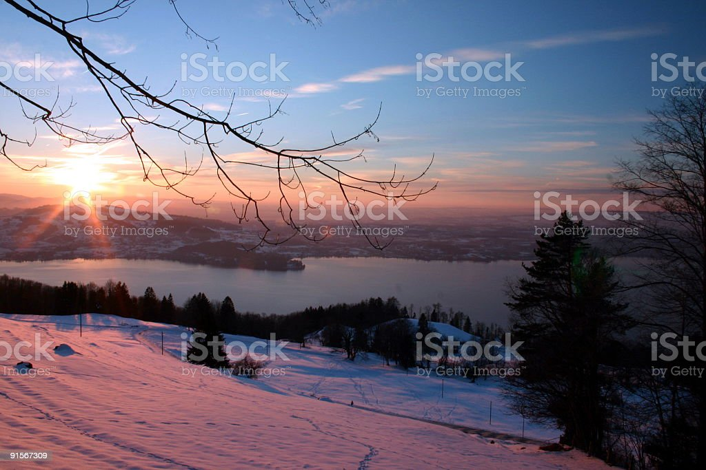 zug sunset stock photo