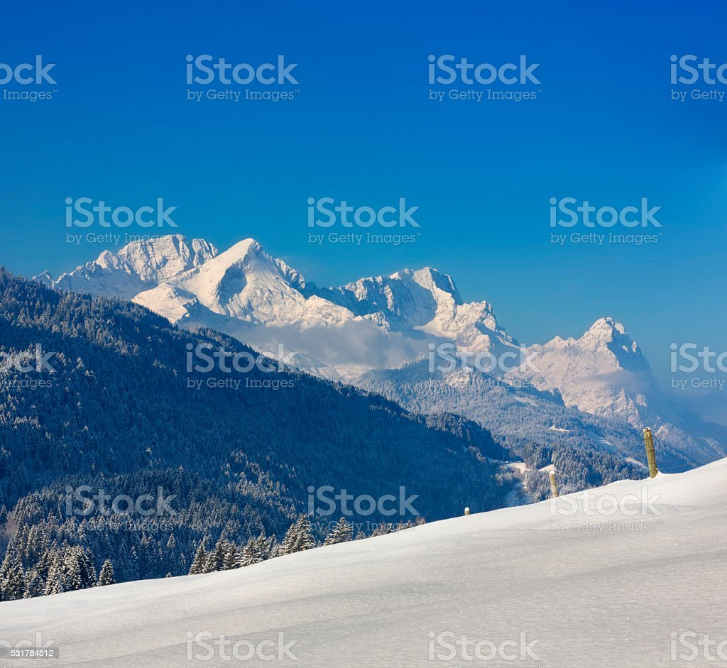 Zugspitze, Alpspitz & Waxenstein in Garmisch-Partenkirchen, Germany stock photo