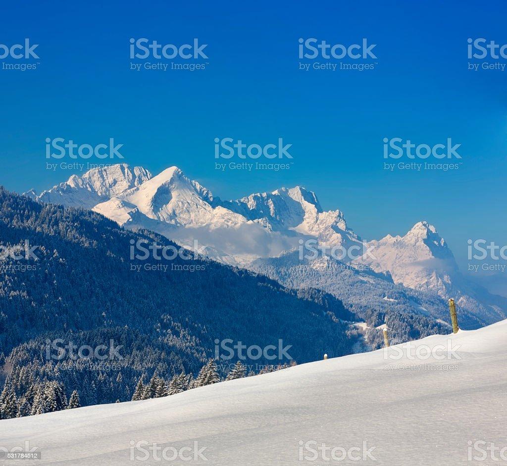 Zugspitze, Alpspitz & Waxenstein in Garmisch-Partenkirchen, Germany stock photo