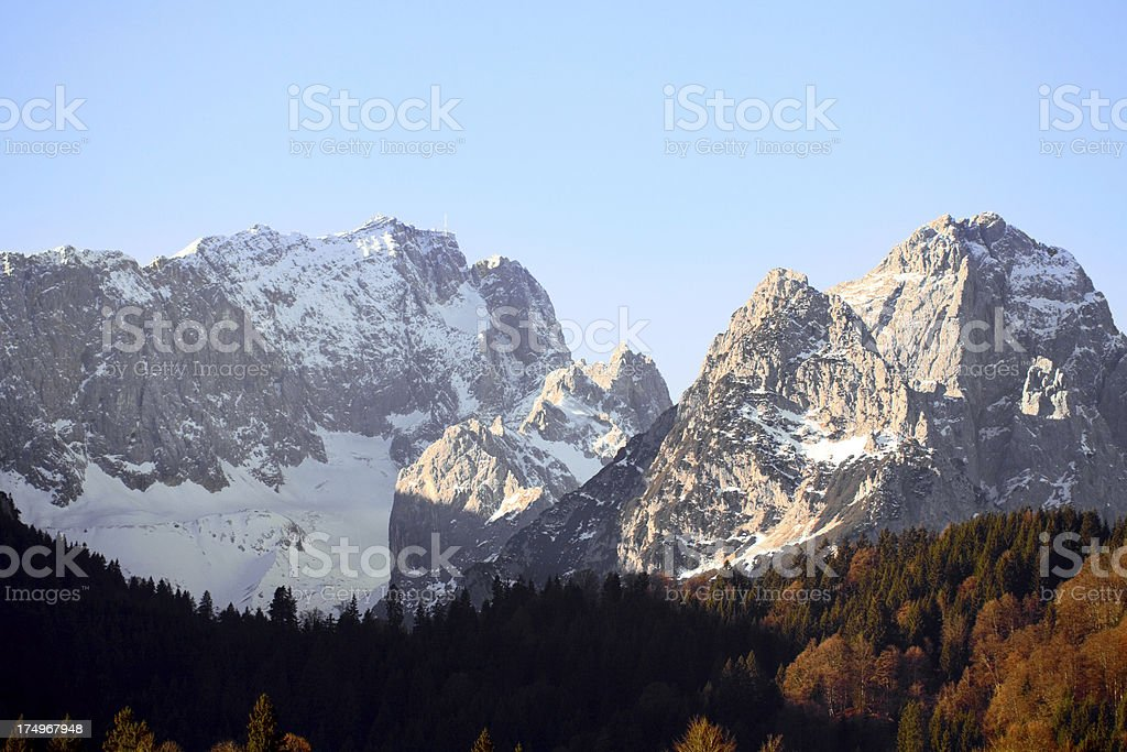 Zugspitze and Alpspitze in morning sun royalty-free stock photo