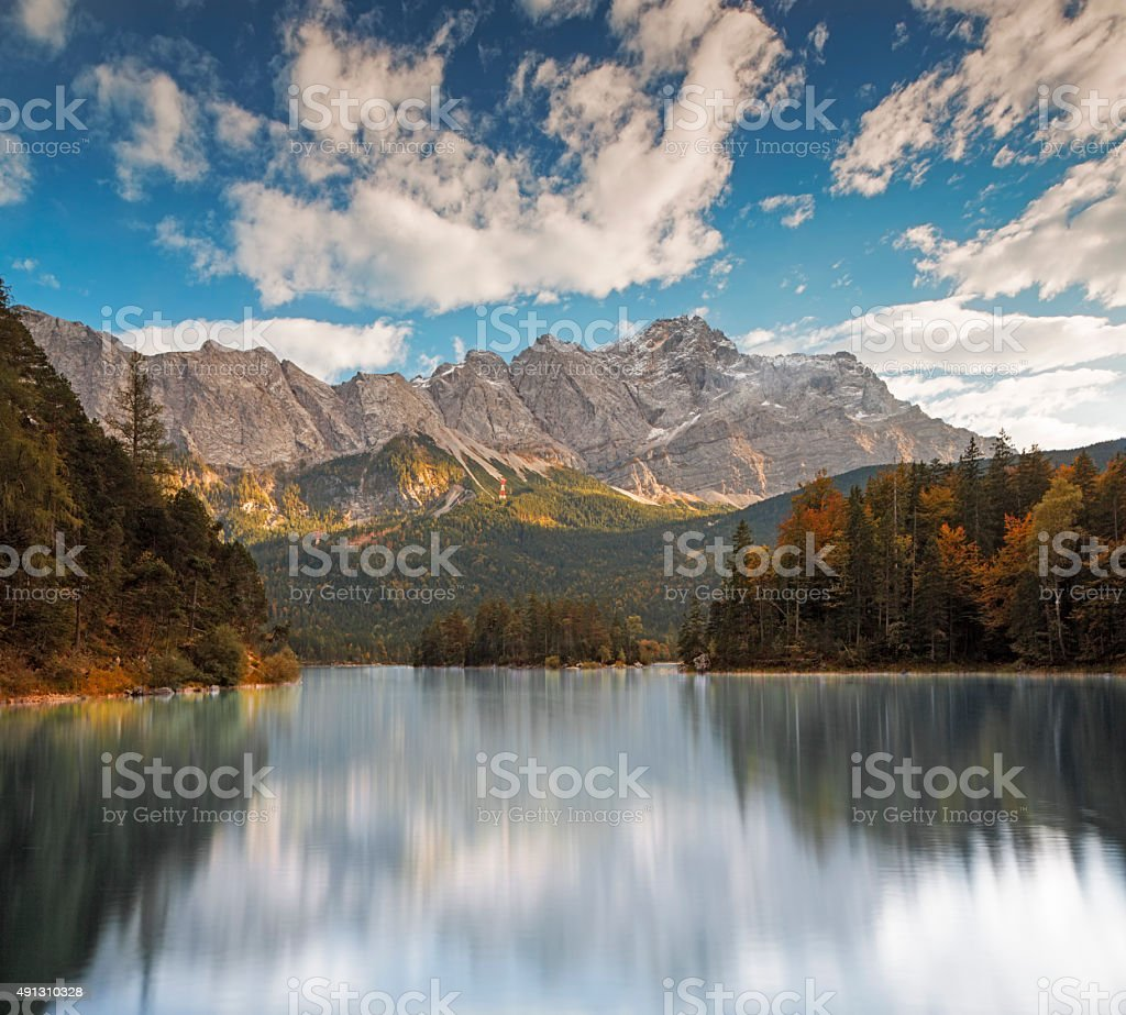 Zugspitze and Eibsee at autumn - Garmisch-Partenkirchen, Bavaria stock photo
