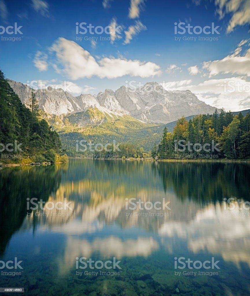 Zugspitze and Eibsee - Garmisch-Partenkirchen, Bavaria stock photo