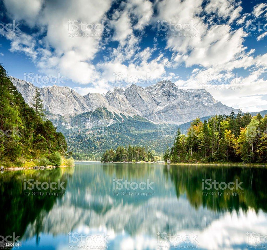 Zugspitze and Eibsee - Garmisch-Partenkirchen, Bavaria stock photo
