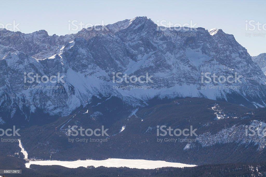 Zugspitze and lake  Eibsee stock photo